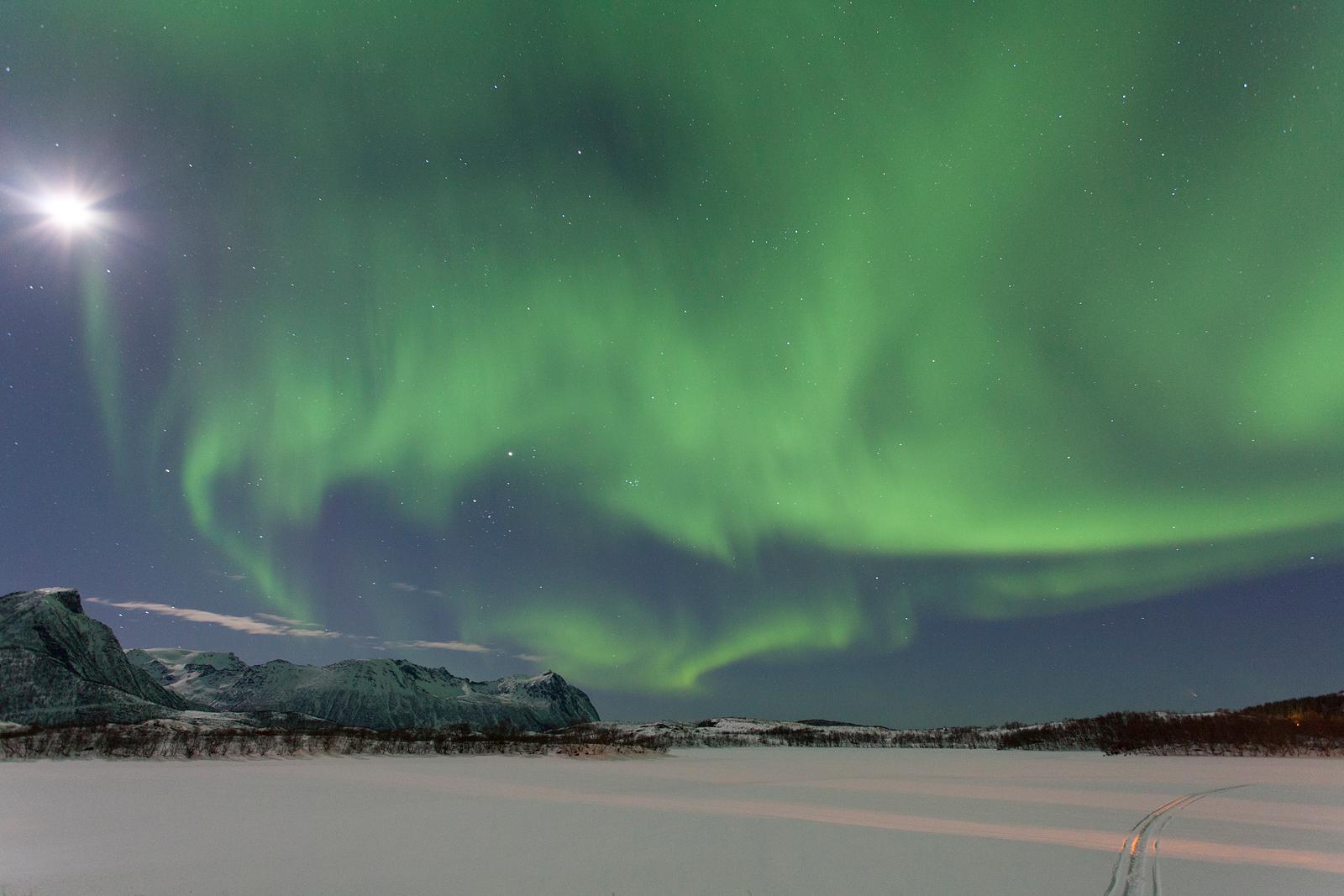 Noorderlicht op de Lofoten Noorwegen; Northern lights at the Lofoten, Norway